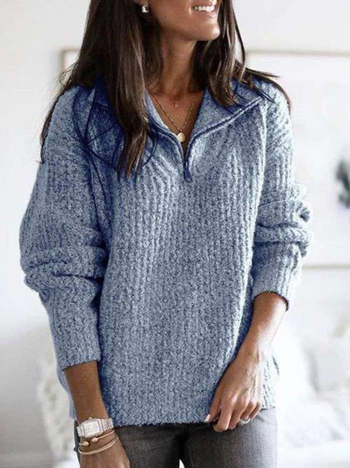 Fashion Knit Long sleeve Zipper Stand collar Sweaters
