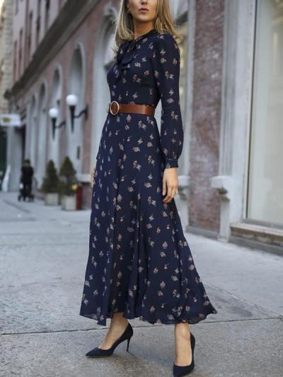 Elegant women printed long sleeve maxi dresses