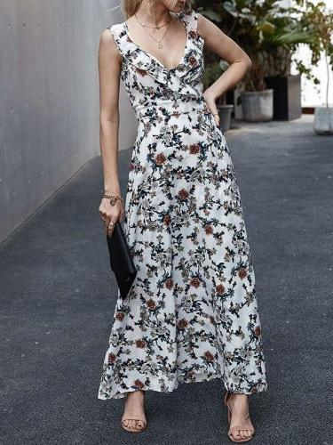 Fashion V neck Print Sleeveless Maxi Dresses