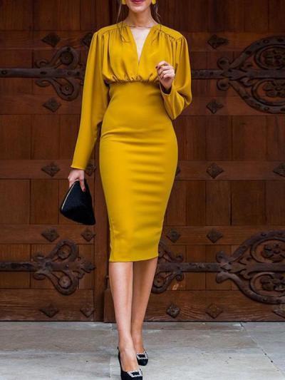 V neck secy slim women long sleeve eveing dresses