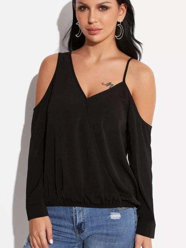 Sexy Pure Off shoulder V neck T-Shirts