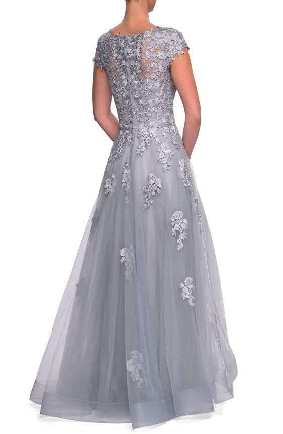 Fashion Print Lace Grenadine Round neck Short sleeve Evening Dresses