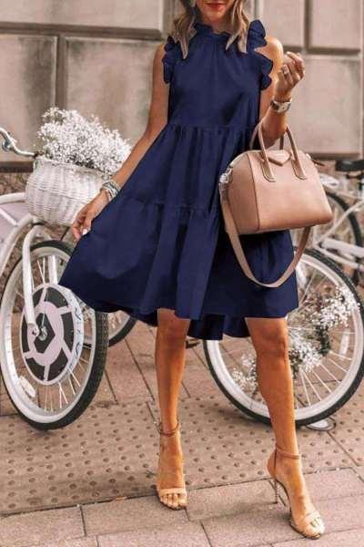 Casual Pure Falbala Round neck Sleeveless Shift Dresses