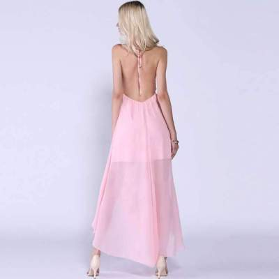 Fashion Sexy Pure Halter Backless Maxi Dresses