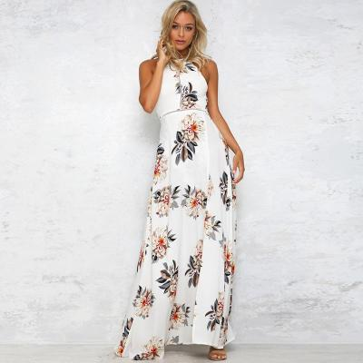 Floral Backless Sleeveless Maxi Dresses
