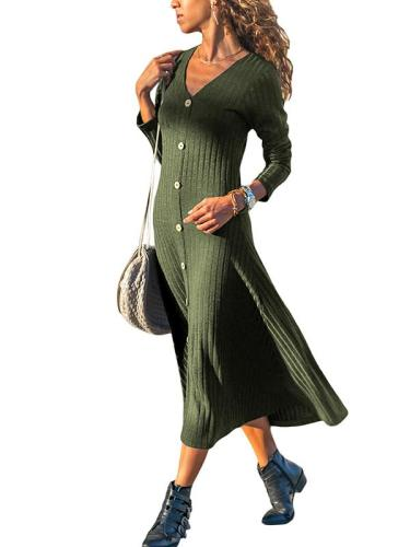 V-Neck Long Sleeve Plain Knit Woman Maxi Dress