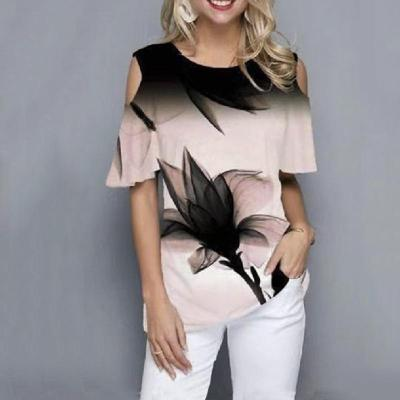 Casual Print Round neck Off shoulder Short sleeve T-Shirts