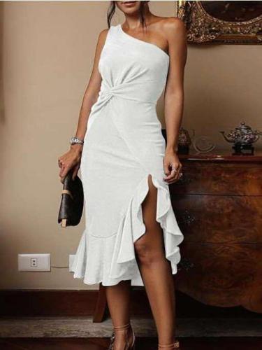 Irregular Sleeveless Falbala Bodycon Dresses