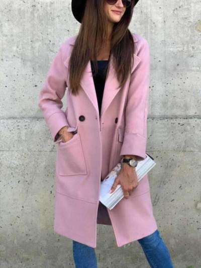 Fashion Pure Lapel Long sleeve Pocket Trench Coats