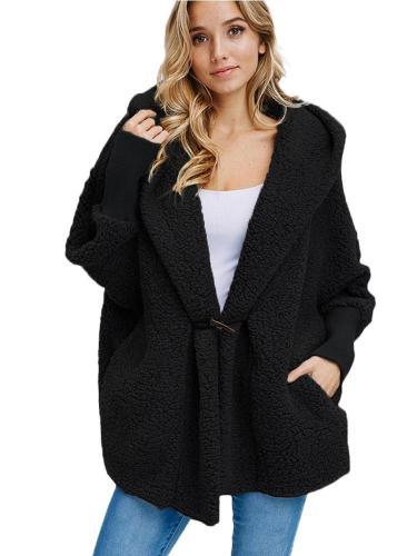 Plush Hooded Pure Long sleeve Coats