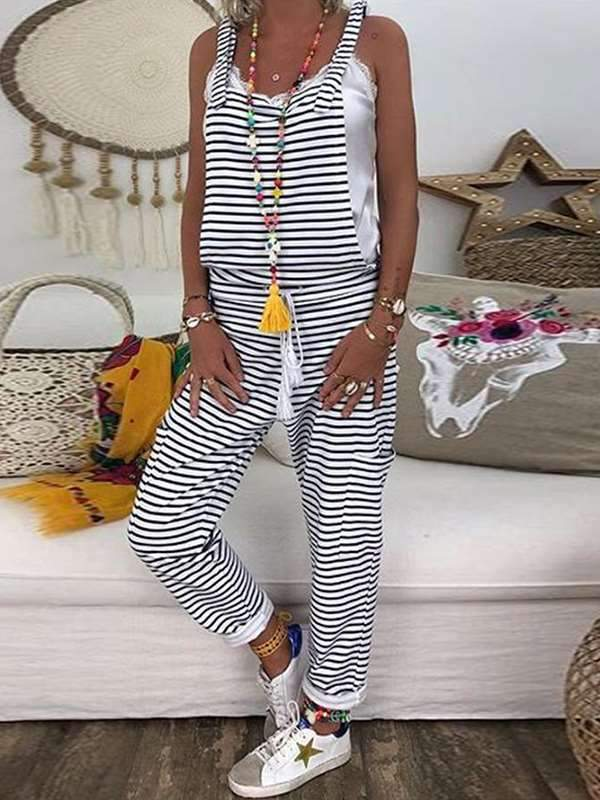 Casual striped plus-size pockets long jumpsuits