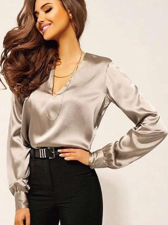 Sexy Pure V neck Long sleeve Blouses