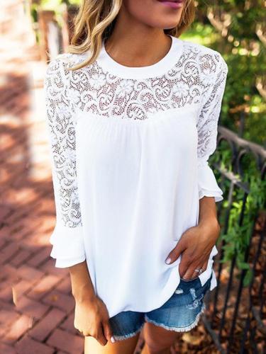 Casual lace spliced chiffon blouse