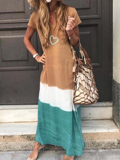 Loose  patchwork short sleeve printed v-neck maxi dresses