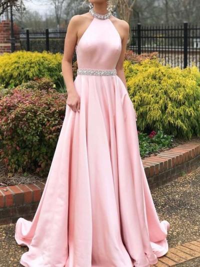 Fashion Sleeveless Backless Halt Evening Dresses