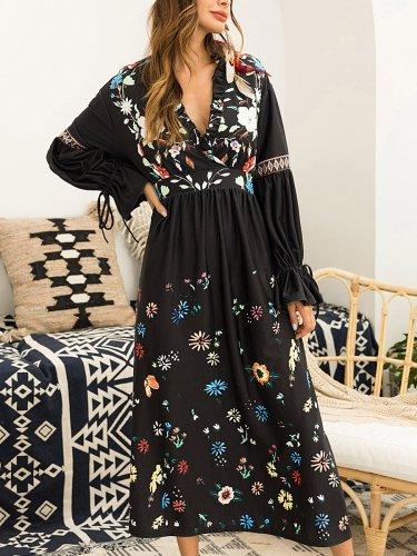 Autumn Super Embroider Black Fashion Long Sleeve Maxi Dress