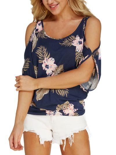 Casual Off shoulder Short sleeve Loose T-Shirts