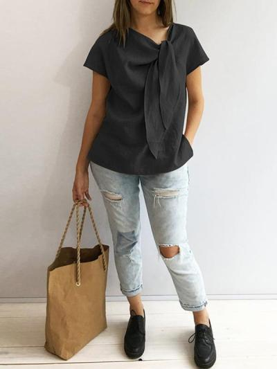 Loose Casual vintage plain o-neck blouses
