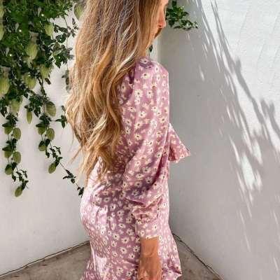 Casual Print V neck Long sleeve Lacing Skater Dresses