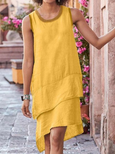 Casual Pure Round neck Sleeveless Shift Dresses