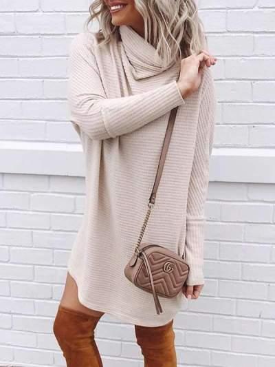 High neck women knit kahki sweater dresses shift dresses