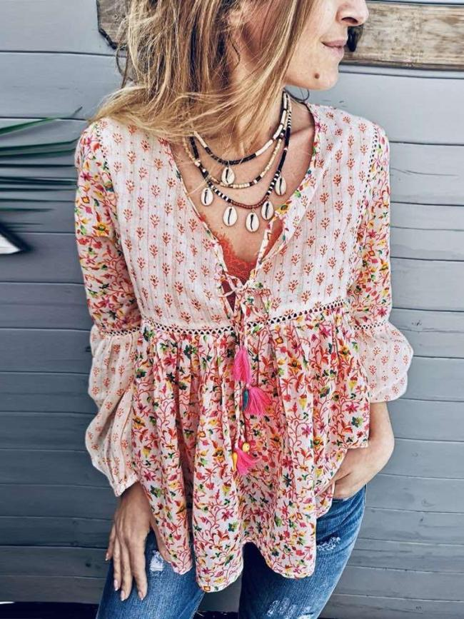 Fashion Casual V neck Long sleeve Print Gored Blouses