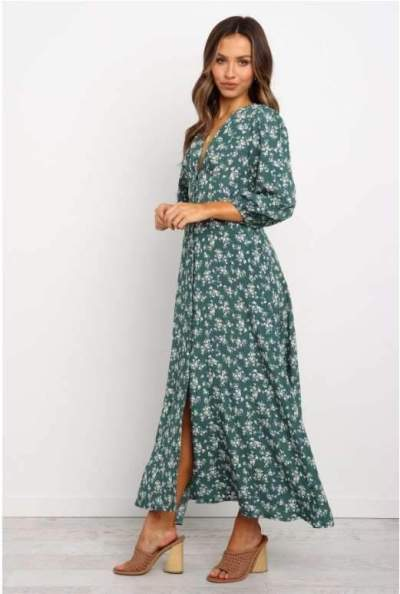 Fashion V neck Long sleeve Print Maxi Dresses