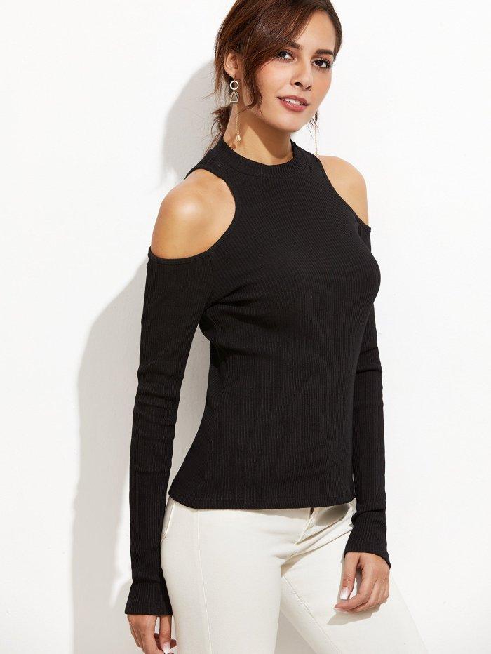 Off Shoulder Long Sleeve Slim T-Shirts