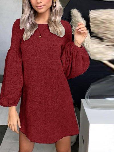 Knitwear Woman Round Neck Autumn Shift Dress
