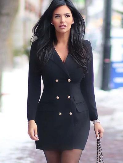 Fashion Pure Lapel Fastener Blazer Bodycon Dresses