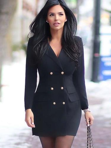 Fashion Pure Lapel Fastener Blazer Bodycon Dresses