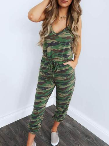 Sexy camouflage slimming gallus jumpsuits for women