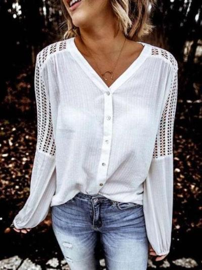 Fashion Pure Hollow out V neck Long sleeve Fastener Blouses