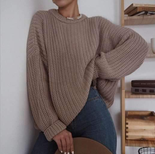 Fashion Casual Pure Round neck Long sleeve Knit Sweaters