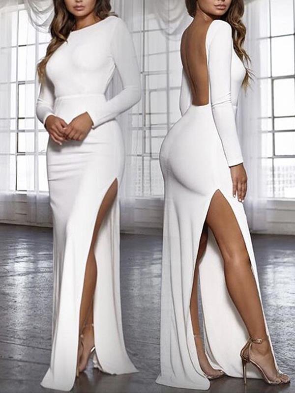 Elegant long sleeve round neck backless women eveing dresses