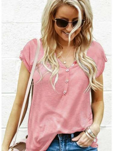 Fashion Pure V neck Short sleeve Fastener T-Shirts