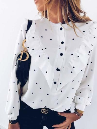 Flounces decoration long sleeves wave dot printed blouses