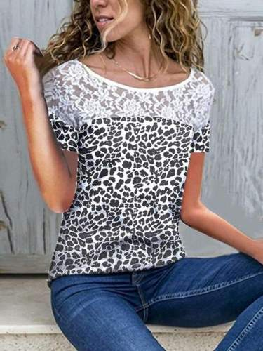 Round collar sexy lace leopard printed patchwork lady T-shirts