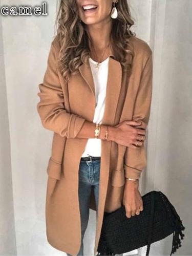 Pure Long sleeve Lapel Fake pocket Coats