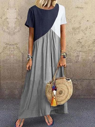 Geometric patchwork irregular fashion maxi dresses