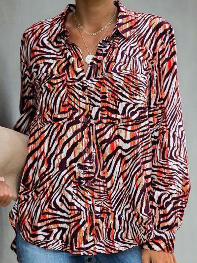 Zebra printed long sleeve blouses