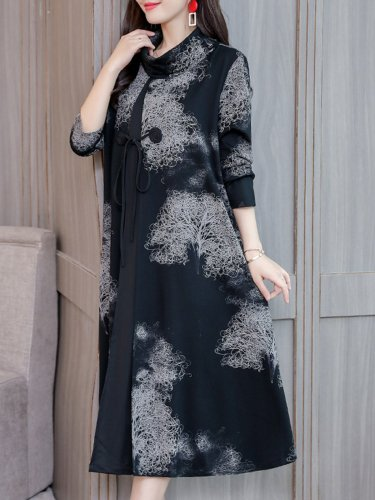 Elegant Cowl Neck Printed Long Sleeve Dress