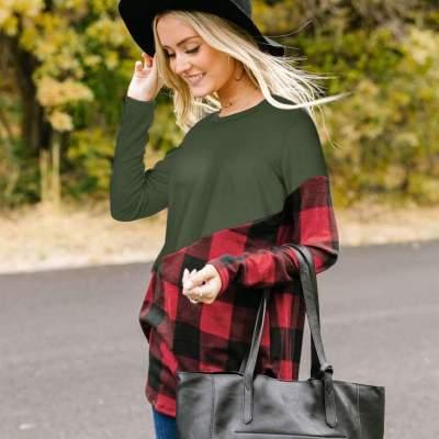 Fashion Gored Plaid Long sleeve Round neck T-Shirts