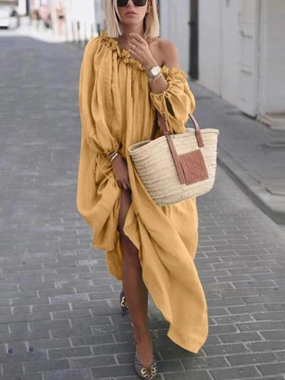 Loose Fashion Plain Women Off houlder Maxi Dresses