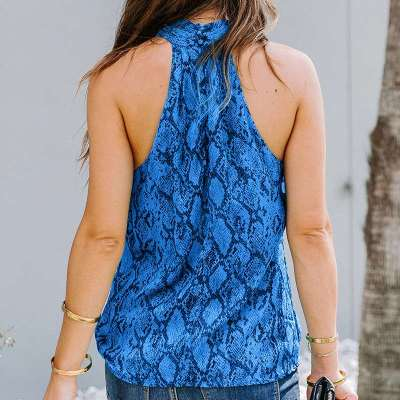 Fashion Print Halter Sleeveless Vests
