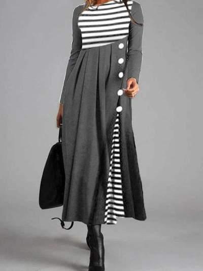Elegant Casual Stripe Shirt Round Neckline Maxi Dresses