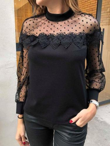 Woman Sexy Sweet Lace Long sleeve Black Blouse