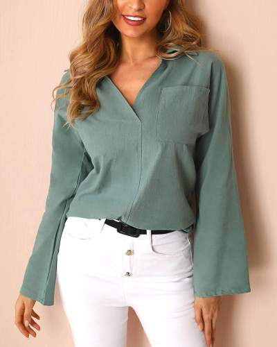 Pure V neck Long sleeve Pocket Blouses
