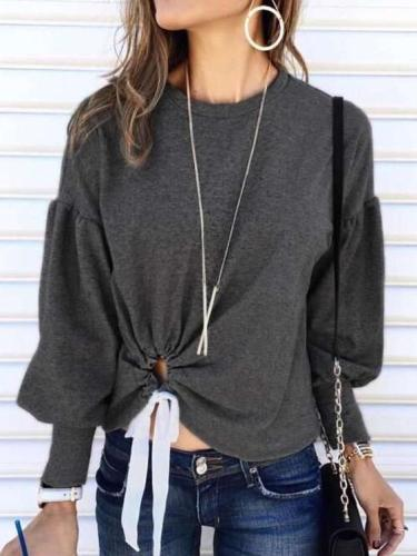 Fashion Round neck Puff sleeve Lacing T-Shirts