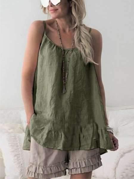 Fashion Pure Round neck Vest Falbala Shift Dresses